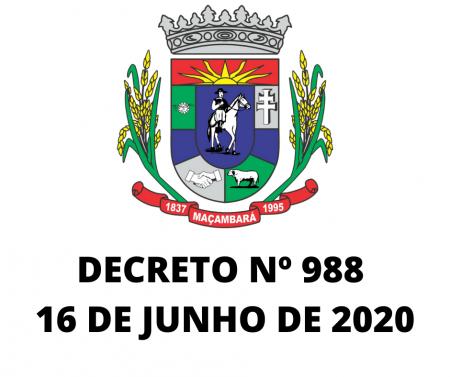 Decreto Nº 988, de 16 de junho de 2020
